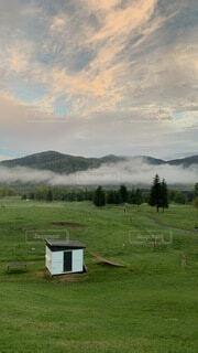 自然,風景,空,秋,屋外,緑,草原,雲,北海道,霧,牧場,山,景色,草,樹木,新緑,高原,トマム,日中,星のリゾート