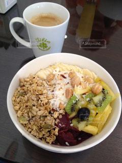 食品とコーヒーのカップのプレートの写真・画像素材[911190]
