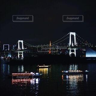 空,夜,橋,屋外,川,水面,都会,明るい