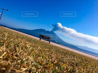 自然,風景,空,芝生,屋外,草原,雲,青空,青,山,景色,草,桜島