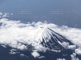 自然,空,富士山,雪,屋外,雲,山,上空