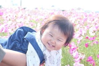 テーブルの上に座っている小さな女の子の写真・画像素材[4937151]