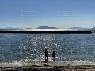 自然,風景,海,空,屋外,ビーチ,晴天,砂浜,水面,山,香川県,兄妹,沙弥