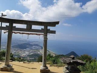 風景,空,屋外,雲,青空,山,香川県,天空の鳥居,高屋神社,観音寺市