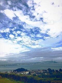緑,白,青,景色,高い空
