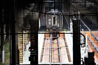 幻想的,鉄道,名古屋,夜中,近未来的な鉄道車庫