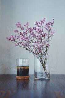 カフェ,花,コーヒー,屋内,花瓶,植木鉢,壁,ドリンク