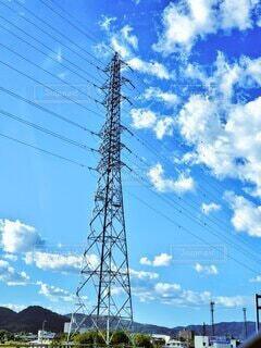 空,屋外,雲,青空,青,鉄塔,タワー,電線,送電線,ブルー,景観,パイロン