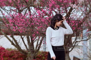 木の前に立っている人の写真・画像素材[1030875]