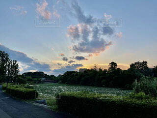 公園にある川辺の夕焼けの写真・画像素材[4953828]