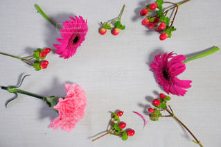 テーブルの上のピンクの花のグループ - No.785882