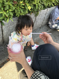 子供,女の子,いちご,お祭り,かき氷