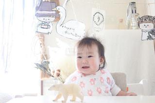 ケーキ,白,子供,赤ちゃん,ホワイト,記念写真,9ヶ月