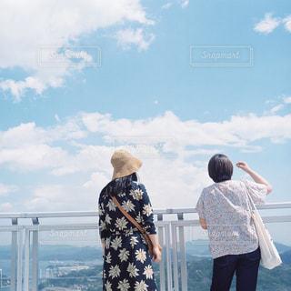 女性,空,青,フィルム,友達,ツーショット,2人