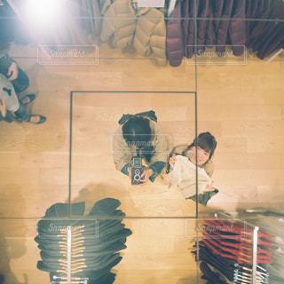 女性,カメラ,鏡,フィルム,友達,ツーショット