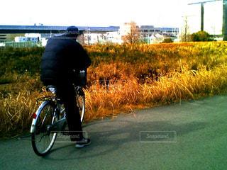 男性,自転車,哀愁,休憩,背中,土手,サイクリング,一息,おじさん