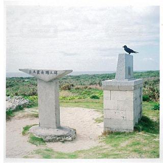 海,空,鳥,屋外,沖縄,草,旅行,コンクリート,フィルム,波照間島,最南端,石碑