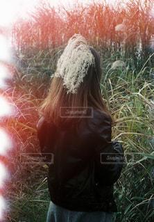 草の中に立っている女性 - No.926127