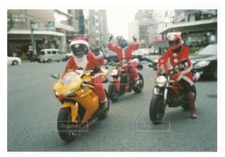 冬,屋外,道路,クリスマス,サンタ,コスプレ,オートバイ