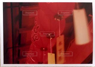 赤と白の標識の写真・画像素材[1019788]