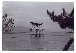 水の体の横に立っている人のグループの写真・画像素材[1022506]