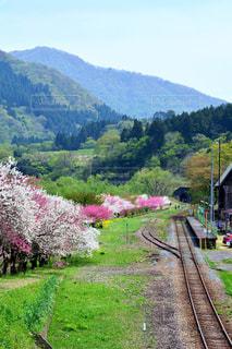 背景の山と、電車の中で電車のトラックします。の写真・画像素材[1154009]