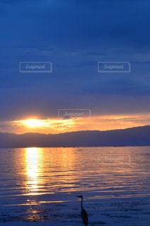 水の体に沈む夕日の写真・画像素材[1232086]