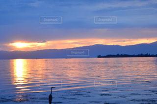 水の体に沈む夕日の写真・画像素材[1232091]