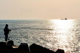 風景,海,空,夕日,屋外,太陽,夕暮れ,波,水面,三国サンセットビーチ
