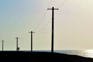 2人,風景,海,空,夕日,海岸,三国サンセットビーチ
