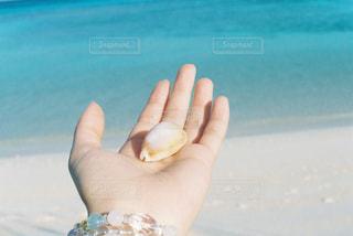 ビーチで水のボトルを持っている手の写真・画像素材[1357453]