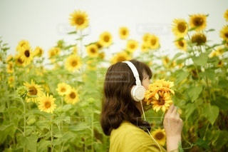 花の前に立っている人の写真・画像素材[3534410]