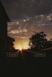 風景,空,街並み,屋外,太陽,朝日,雲,暗い,街,樹木,電線,正月,お正月,日の出,明るい,新年,初日の出,くもり,景観,街路灯