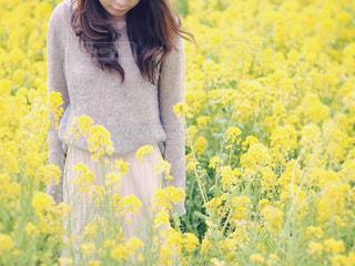 黄色の花の前に立っている人の写真・画像素材[1034120]