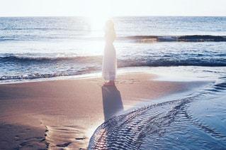 夕方の浜辺での写真・画像素材[1236689]