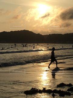 夕日,サーフィン,砂浜,海辺