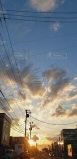 自然,空,夕日,屋外,雲,北海道,電線,外,通り,車から