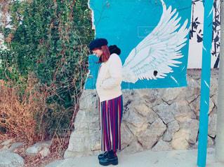 女性,1人,学生,ファッション,女の子,スカート,羽,韓国,天使,壁画,冬服