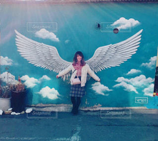 女性,学生,ファッション,女の子,スカート,羽,韓国,天使,壁画,冬服