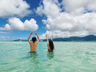 海,空,夏,雲,青,後ろ姿,女の子,爽やか,人物,背中,人,ハワイ