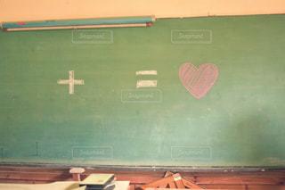 文字,緑,イラスト,室内,ハート,学校,黒板,チョーク,青春,放課後,計算式