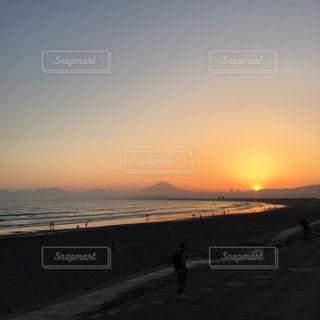 自然,海,空,夕日,富士山,夕暮れ,江ノ島,夕暮れ時,夕富士