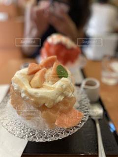 桃エスプーマかき氷の写真・画像素材[3609522]