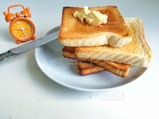 朝食,時計,パン,仕事,軽食