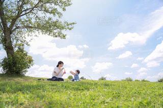 芝生で覆われた畑の上に座っている人の写真・画像素材[4467197]