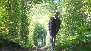 森林の隣に立っている男 - No.1053763