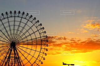 風景,空,秋,夕日,大阪,夕焼け,観覧車,夕陽,陽射し,秋空,景観,秋の空,りんくう,りんくうタウン