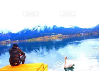 男性,自然,湖,海外,後ろ姿,山,背中,人,後姿,白鳥