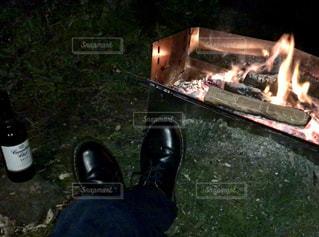 火のオーブンのクローズアップの写真・画像素材[2367816]