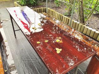 雨,庭,屋外,反射,花びら,椅子,机,鯉のぼり,こどもの日,水鏡,梅雨,雨の日,ガーデン